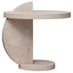 Contemporary Travertine Side Table by Alex P White