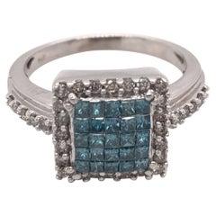 Contemporary Treated Blue Diamond Ring