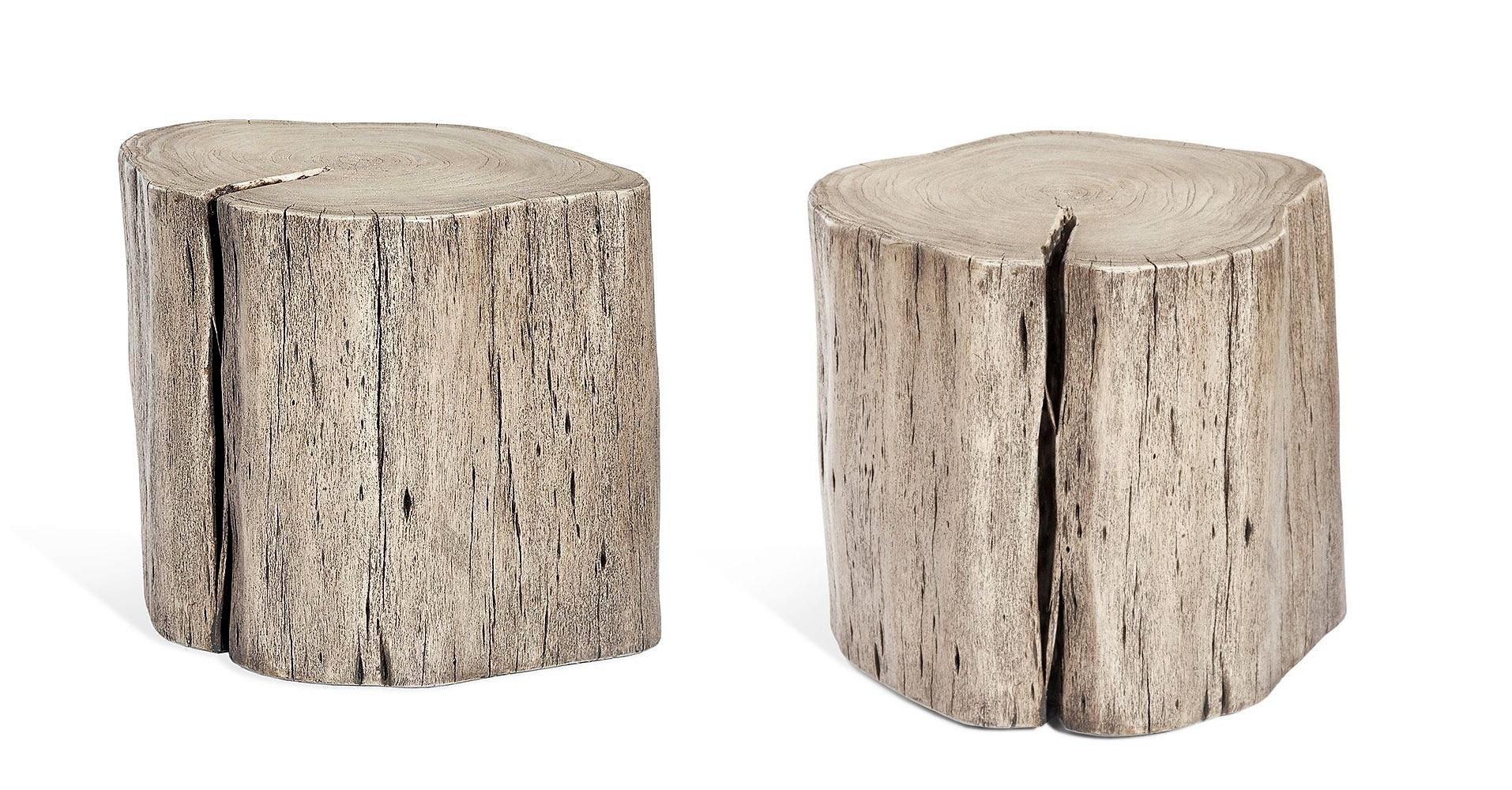 Superbe Contemporary Tree Stump Side Table In Grey Finish