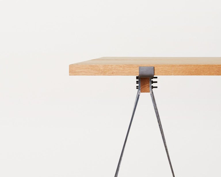 Continuing the collections design approach, the Trestle table is Industrial in it's expression, along with a simple but functional joint for ease in assembly. The table is versatile and can be used as everything from a studio working desk to a