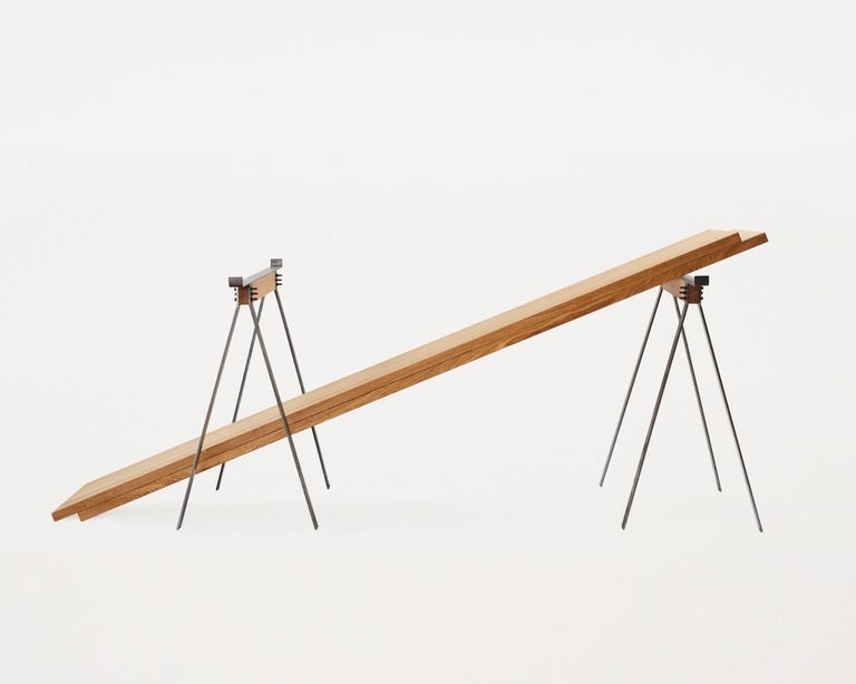 Scandinavian Modern Contemporary Trestle Table with Solid Oak Planks and Steel Legs For Sale