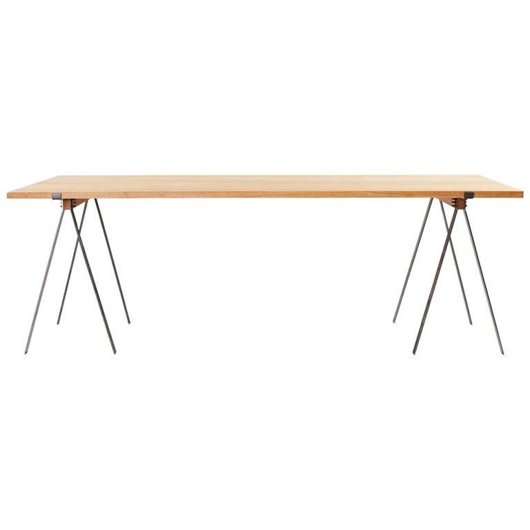 Contemporary Trestle Table with Solid Oak Planks and Steel Legs For Sale