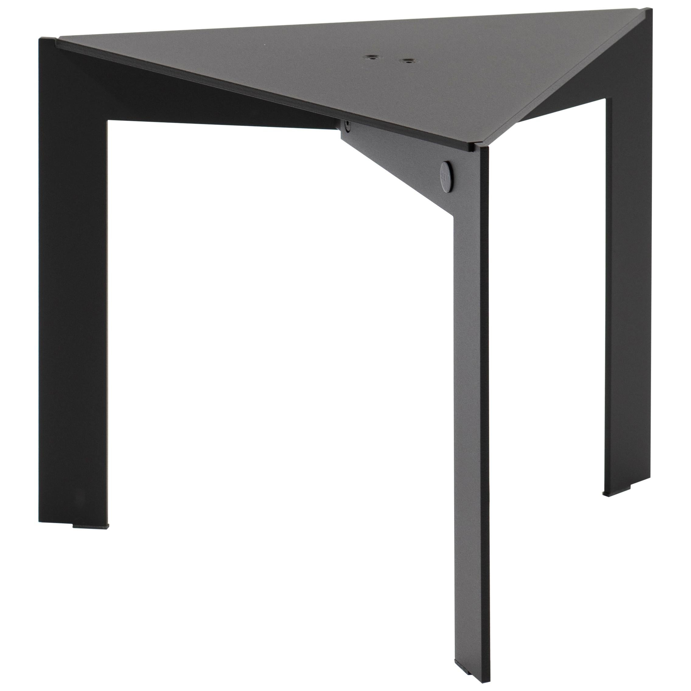 Contemporary Triangular Black Side Table, Joined T34.3 by Barh