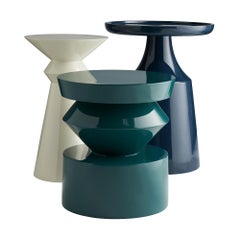 Contemporary Trio Side Table Set in High Gloss Lacquer