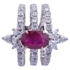 Contemporary Triple Ring with Diamonds and Burma Ruby with Certificate GRS