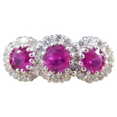 Contemporary Triple Ruby and Diamond Cluster Ring in 18 Carat White Gold