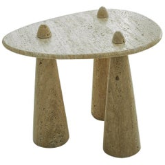 Contemporary Tripod Side Table in Carved Marble