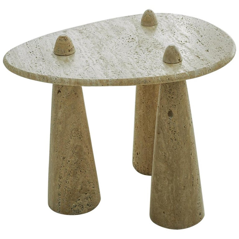 Contemporary Tripod Side Table in Carved Marble For Sale