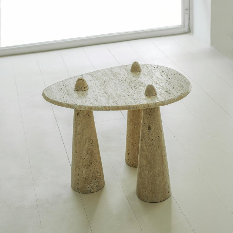 Brutalist Contemporary Tripod Side Table in Carved Marble For Sale