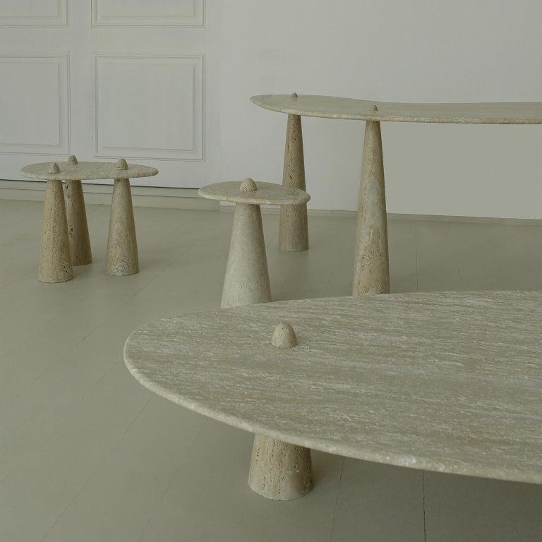 Brazilian Contemporary Tripod Side Table in Carved Marble For Sale