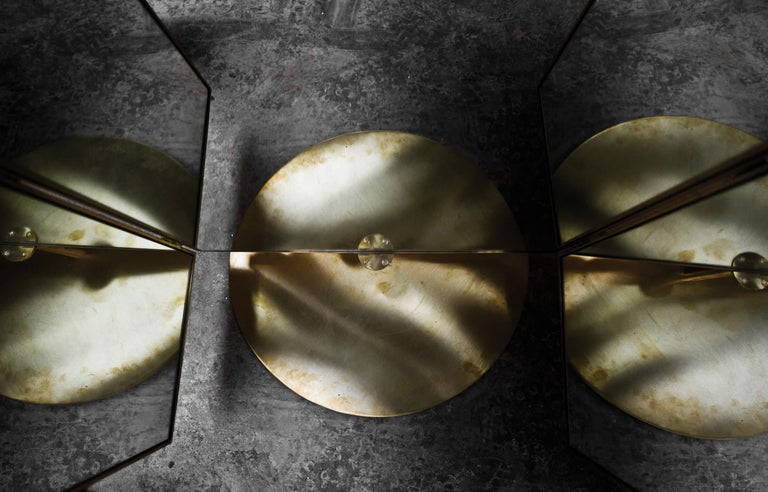 Portuguese Contemporary Triptych Leather Handcrafted in Polished Brass Portal Floor Mirror For Sale