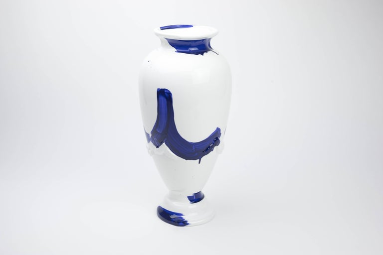 Modern Contemporary Tryst Ceramic Vase with Hand-Painted Motif in Blue and White For Sale
