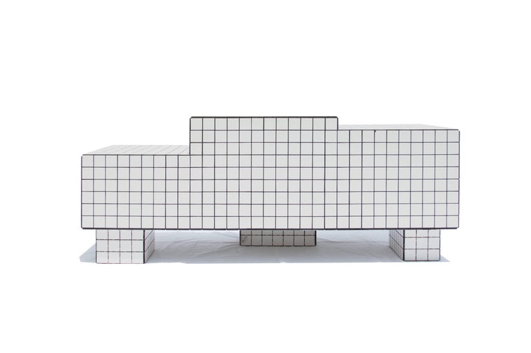 Other Contemporary TS I Limited Edition Lounge Seat with Tiles, Wood and Black Grout For Sale