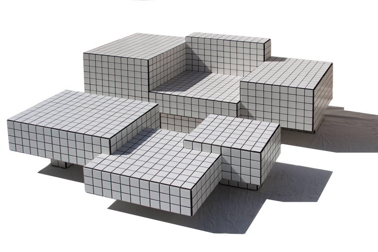 American Contemporary TS I Limited Edition Lounge Seat with Tiles, Wood and Black Grout For Sale