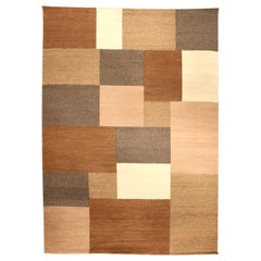 """Contemporary Tulu Nadu """"the Carmel Streppe"""" Hand Knotted Wool Rug"""