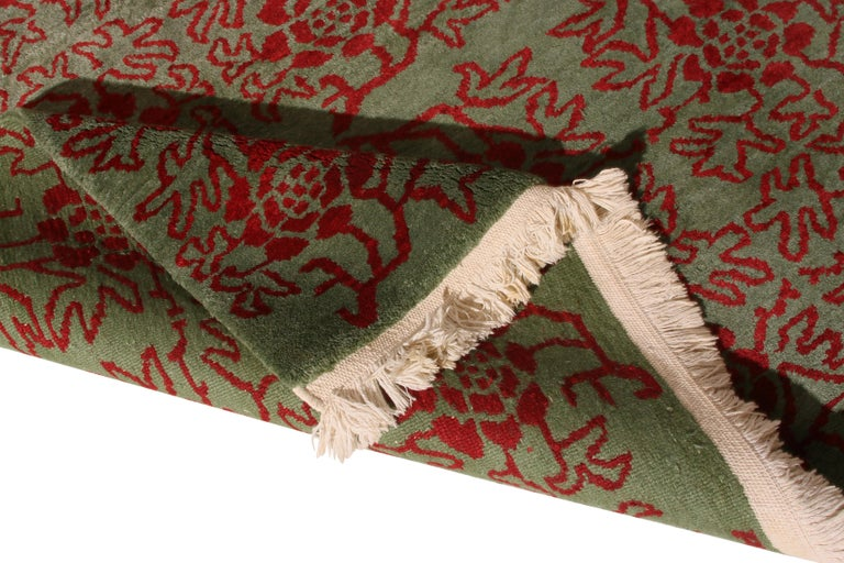 Nepalese Contemporary Tulu Rug Green and Red Floral Pattern by Rug & Kilim For Sale