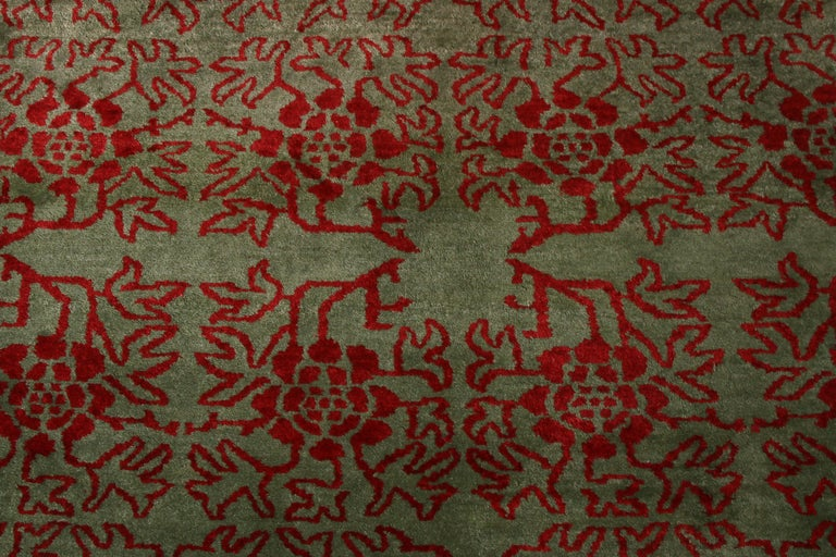 Contemporary Tulu Rug Green and Red Floral Pattern by Rug & Kilim In New Condition For Sale In Long Island City, NY