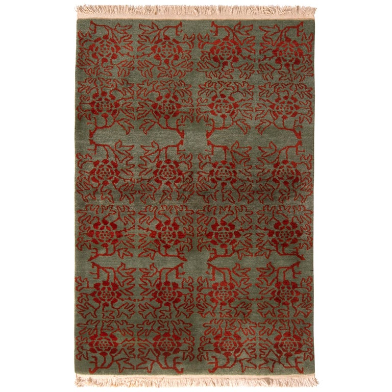 Contemporary Tulu Rug Green and Red Floral Pattern by Rug & Kilim For Sale