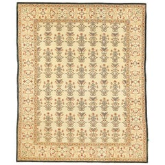 Contemporary Turkish Agra Rug with Beige and Brown Botanical Details