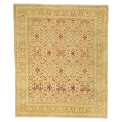 Contemporary Turkish Agra Rug with Red & Ivory Botanical Details