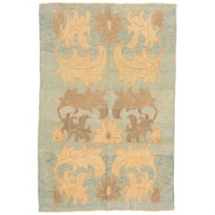 Contemporary Turkish Donegal Rug with Beige and Brown Botanical Details