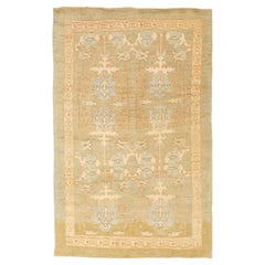 Contemporary Turkish Donegal Rug with Blue and Ivory Botanical Patterns