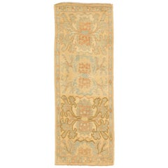 Contemporary Turkish Donegal Rug with Blue and Brown Botanical Details