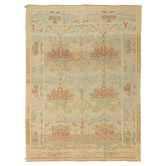 Contemporary Turkish Donegal Rug with Brown and Blue Floral Details