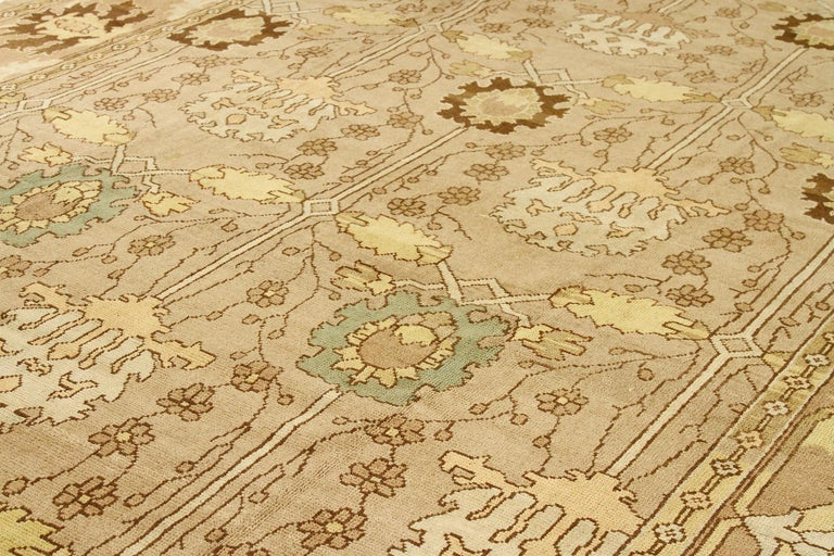 Other Contemporary Turkish Donegal Rug with Brown and Beige Flower Details For Sale