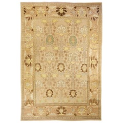 Contemporary Turkish Donegal Rug with Brown and Beige Flower Details