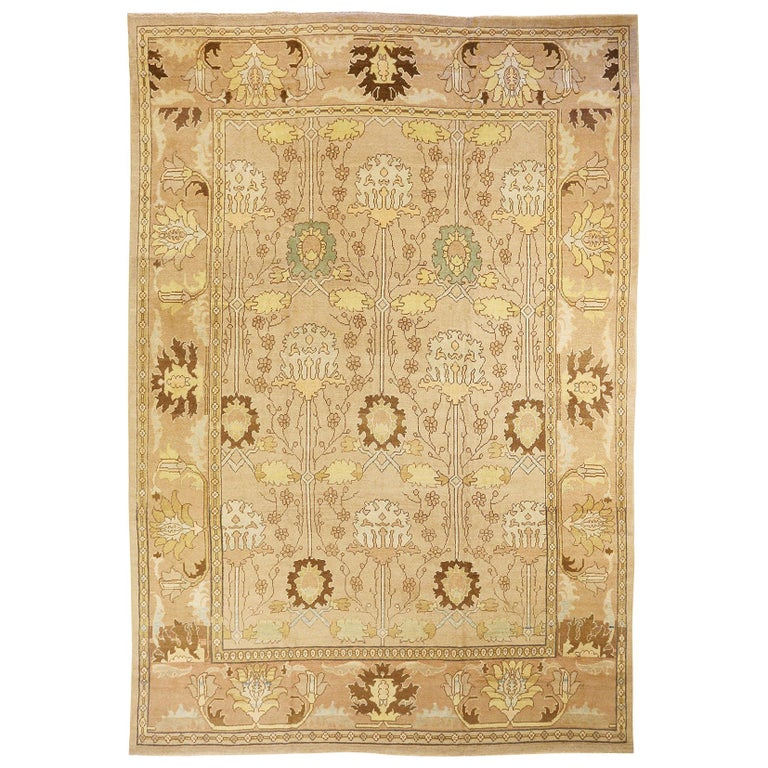 Contemporary Turkish Donegal Rug with Brown and Beige Flower Details For Sale