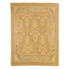 Contemporary Turkish Donegal Rug with Brown and Gray Floral Details