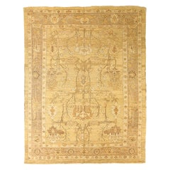 Contemporary Turkish Donegal Rug with Brown and White Floral Patterns
