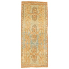 Contemporary Turkish Donegal Rug with Ivory and Brown Botanical Details