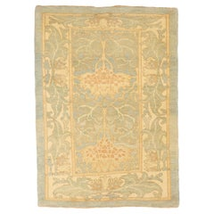 Contemporary Turkish Donegal Rug with Ivory and Green Botanical Details