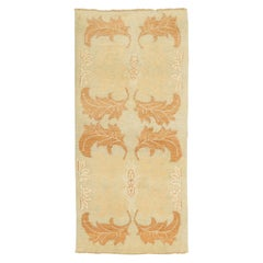 Contemporary Turkish Donegal Rug with Large Brown and Ivory Leaves Pattern