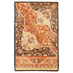 Contemporary Turkish Farahan Style Rug with Black and Ivory Floral Details
