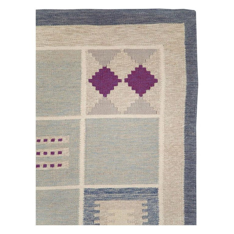 Scandinavian Modern Contemporary Turkish Flat-Weave Accent Rug Inspired by Swedish Kilims For Sale