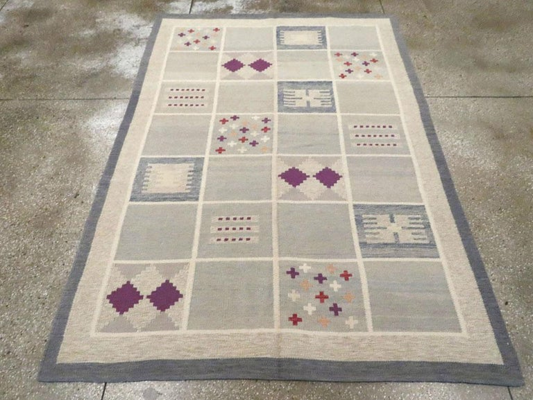 Hand-Woven Contemporary Turkish Flat-Weave Accent Rug Inspired by Swedish Kilims For Sale
