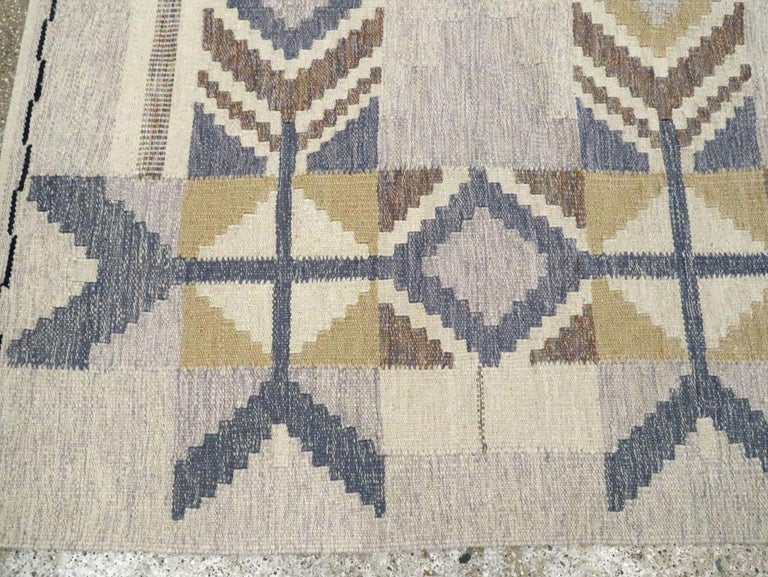 Wool Contemporary Turkish Flat-Weave Accent Rug Inspired by Swedish Kilims For Sale
