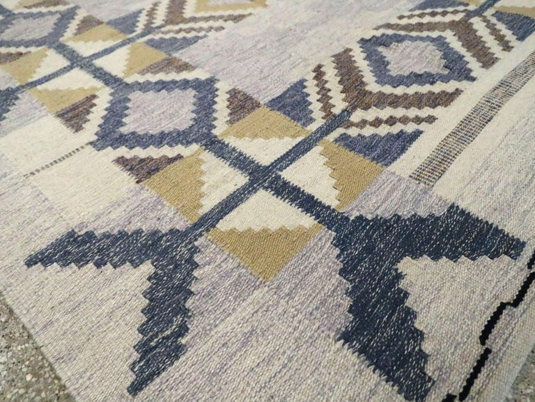 Contemporary Turkish Flat-Weave Accent Rug Inspired by Swedish Kilims For Sale 1