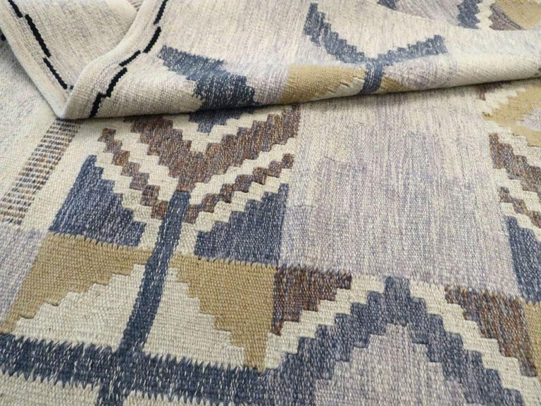 Contemporary Turkish Flat-Weave Accent Rug Inspired by Swedish Kilims For Sale 2