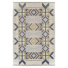 Contemporary Turkish Flat-Weave Accent Rug Inspired by Swedish Kilims