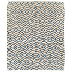 Contemporary Turkish Flatweave Kilim Large Room Size Carpet In Cream and Blue