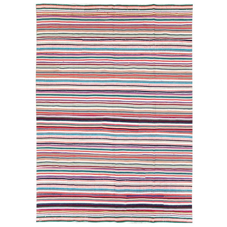 Contemporary Turkish Handmade Flat-Weave Room Size Carpet with Vibrant Colors For Sale