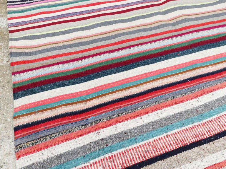 Wool Contemporary Turkish Handmade Flat-Weave Room Size Carpet with Vibrant Colors For Sale
