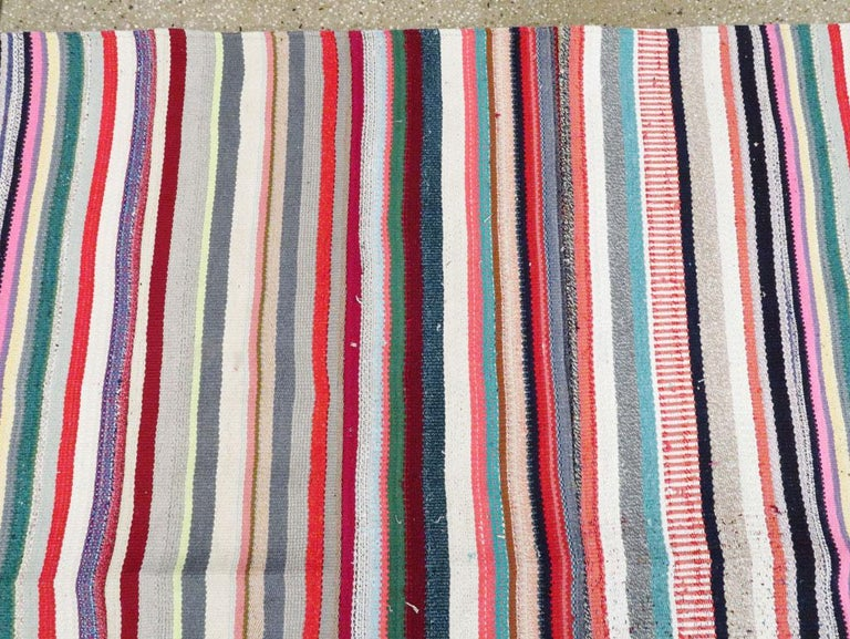 Contemporary Turkish Handmade Flat-Weave Room Size Carpet with Vibrant Colors For Sale 1