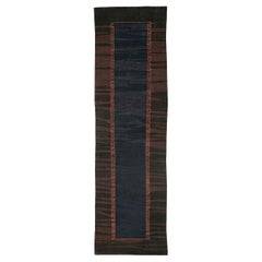 Contemporary Turkish Kilim Rug in Brown, Midnight Blue, and Neon Red Orange