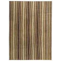 Contemporary Turkish Kilim Rug with Black and Brown Stripes on Beige Field