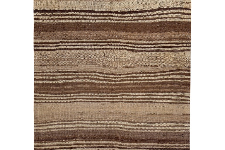 Hand-Woven Contemporary Turkish Kilim Rug with Brown Stripes on Beige Field For Sale